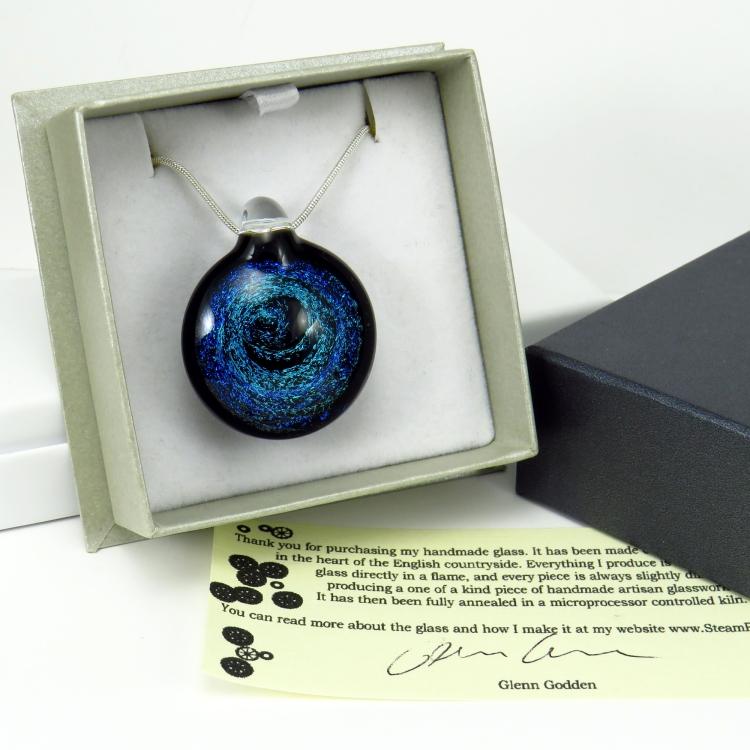 handmade glass pendant by glenn godden in gift box